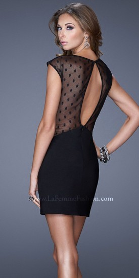 La Femme Polka Dot Mesh Cutout Cocktail Dress | Where to buy & how ...