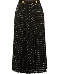 Prada Med Pleated Polka Dot Crepe Midi Skirt