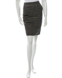Saint Laurent Yves Polka Dot Pencil Skirt
