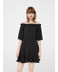 Mango Off Shoulder Polka Dot Dress