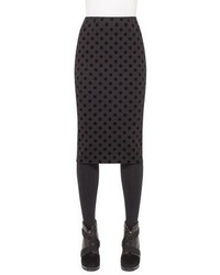 Flocked polka dot pencil midi skirt black medium 791947