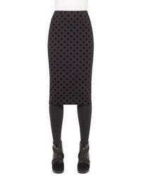 Akris Punto Flocked Polka Dot Pencil Midi Skirt Black