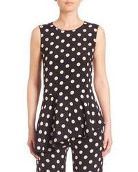 Polka dot asymmetrical peplum top medium 753699