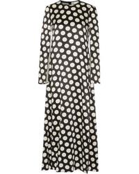 Calvin Klein Collection Polka Dot Satin Maxi Dress Black