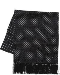 Saint Laurent Polka Dot Printed Silk Satin Scarf