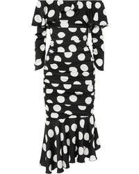 Dolce & Gabbana Ruched Polka Dot Stretch Silk Satin Midi Dress