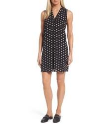 Polka dot inverted pleat shift dress medium 5054930