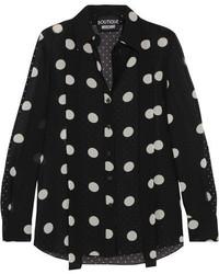 Moschino Boutique Polka Dot Silk Chiffon Shirt Black