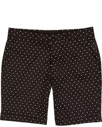 Men's White Polka Dot Long Sleeve Shirt, Black Polka Dot Shorts ...