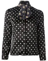 Black Polka Dot Silk Dress Shirt