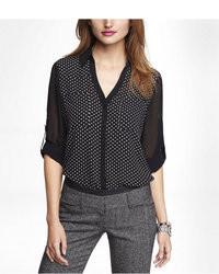 Express Chiffon Sleeve Polka Dot Portofino Shirt