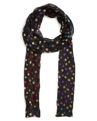 Saint Laurent Metallic Polka Dots Silk Skinny Scarf