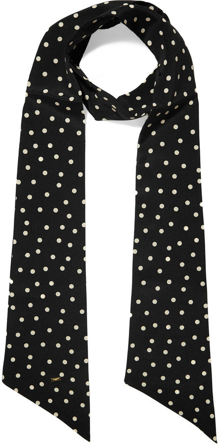 Saint Laurent Polka Dot Silk Crepe De Chine Scarf Black