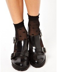 Asos Large Polka Dot Ankle Socks With Frill Top Black