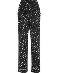 Dolce & Gabbana Polka Dot Silk Blend Wide Leg Pants Black