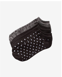 Express 3 Pack Space Dye Solid And Polka Dot Ankle Socks
