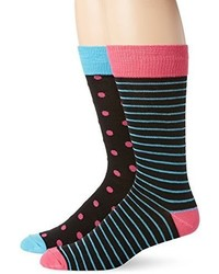 English Laundry Polka Dot And Stripe Crew Socks