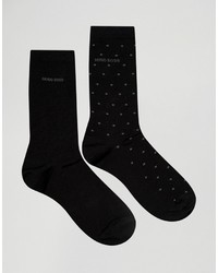 Hugo Boss Boss By Mercerized Cotton Polka Dot Socks In 2 Pack