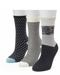 Sonoma Goods For Life Sonoma Goods For Life 3 Pk Black White Color Block Dots Crew Socks