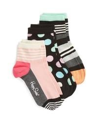 Happy Socks Stripe Dot 3 Pack Ankle Socks