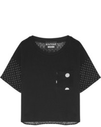 Moschino Boutique Polka Dot Silk Chiffon And Cotton Jersey T Shirt Black