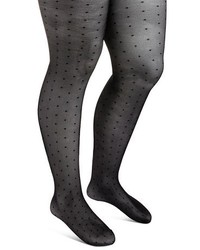 Merona Premium Tights Pin Dot Sheer Black
