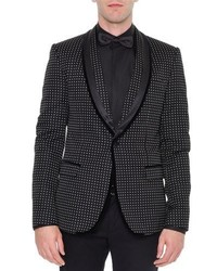 Dolce & Gabbana Shawl Collar Dot Print Velvet Evening Jacket Black