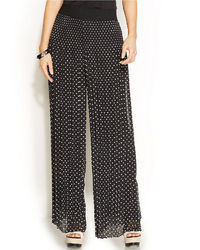 Alfani Petite Wide Leg Polka Dot Pleated Pants
