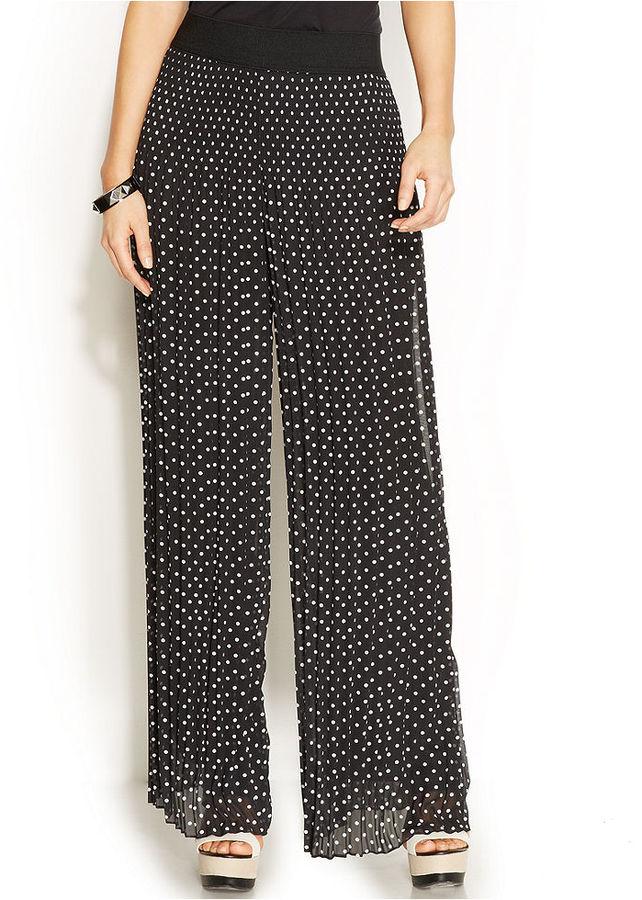 Alfani Petite Wide Leg Polka Dot Pleated Pants | Where to buy ...