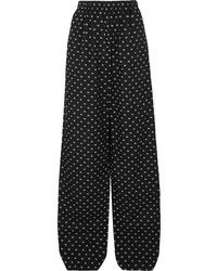 Balenciaga Printed Cotton Poplin Wide Leg Pants