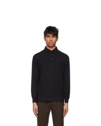 Loro Piana Black Cashmere Long Sleeve Polo