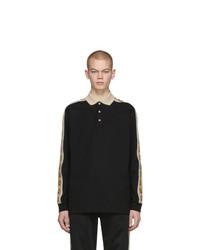 Gucci Black Cotton Pique Long Sleeve Polo