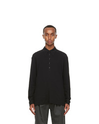 Lemaire Black Crepe Jersey Long Sleeve Polo