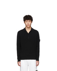 Stone Island Black Knit Long Sleeve Polo
