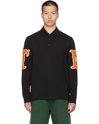 Burberry Black Letter Graphic Long Sleeve Polo