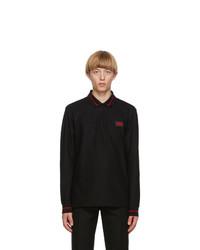 Burberry Black Logo Applique Genford Long Sleeve Polo