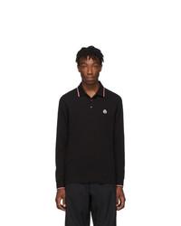 Moncler Black Logo Long Sleeve Polo