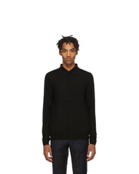 Paul Smith Black Merino Buttoned Long Sleeve Polo