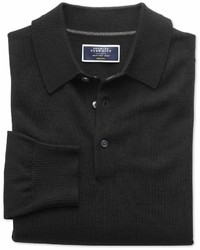 Charles Tyrwhitt Black Merino Wool Polo Neck Sweater Size Large By