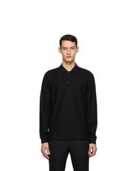 Burberry Black Pique Long Sleeve Polo