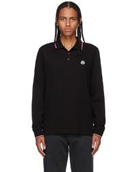 Moncler Black Tricolor Long Sleeve Polo