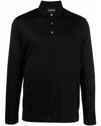 Emporio Armani Logo Print Long Sleeved Polo Top