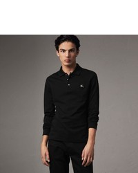 Burberry Long Sleeve Cotton Piqu Polo Shirt