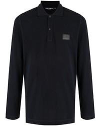 Dolce & Gabbana Long Sleeve Logo Patch Polo Shirt