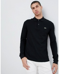 Lacoste Long Sleeve Logo Polo In Black