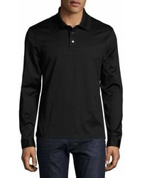 Salvatore Ferragamo Long Sleeve Polo Shirt With Gancini Chest Embroidery Black