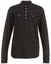 Balmain Long Sleeved Cotton Polo Shirt