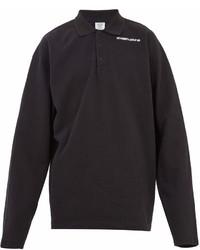 Vetements Long Sleeved Logo Print Piqu Polo Shirt