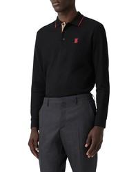 Burberry Walton Long Sleeve Cotton Polo Shirt