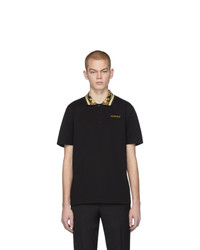 Versace Black Barocco Collar Polo